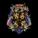 Hogwarts: Floral Logo - Harry Potter Official T-shirt