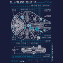 Millennium Falcon Blueprint - Star Wars Official T-shirt