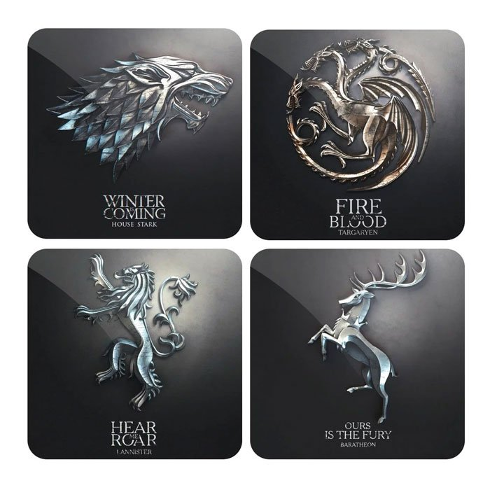 Metallic Sigil Set - Game Of Thrones Official Coasters