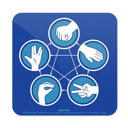 Rock Paper Scissors Lizard Spock - The Big Bang Theory Official Coaster