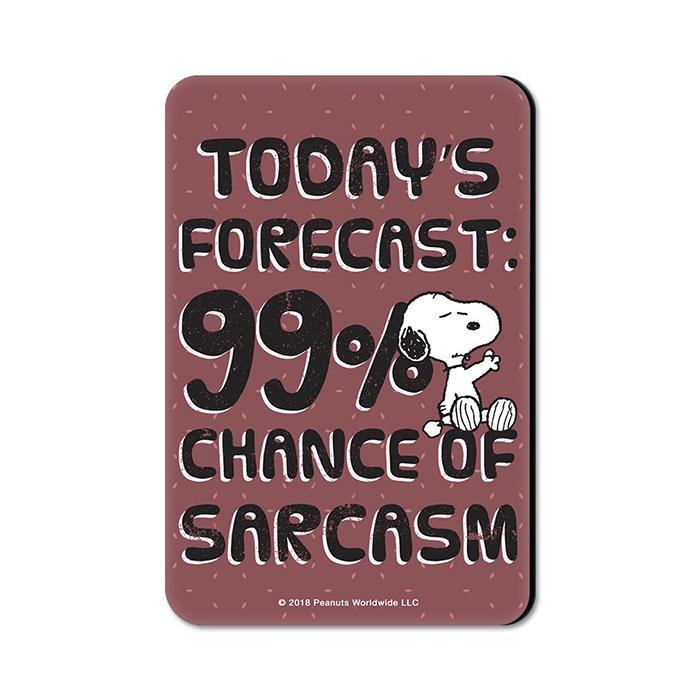 99% Chance Of Sarcasm - Peanuts Official Fridge Magnet