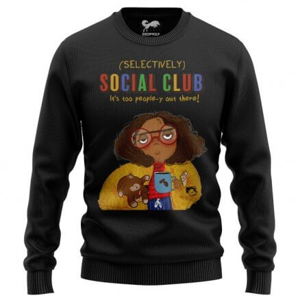 Selectively Social Club (Black) - Light Pullover