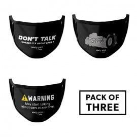Pack of 3: Car Geek - Knocked Cars Face Mask