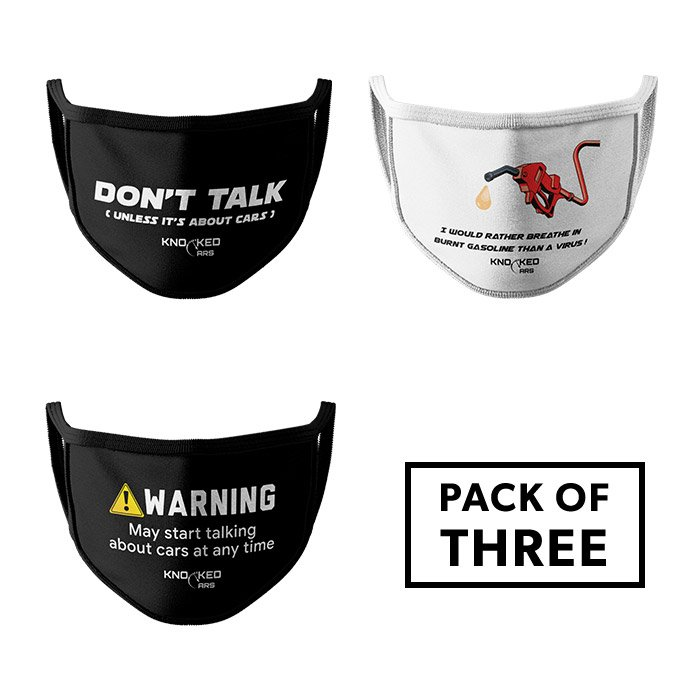Pack of 3: Gearhead - Knocked Cars Face Mask