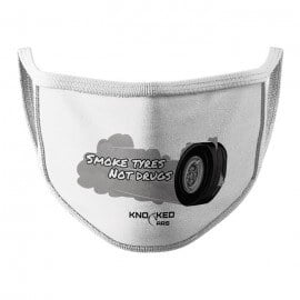 Smoke Tyres (White) - Knocked Cars Face Mask