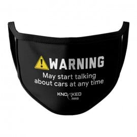 Warning! (Black) - Knocked Cars Face Mask