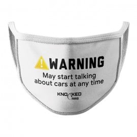 Warning! (White) - Knocked Cars Face Mask