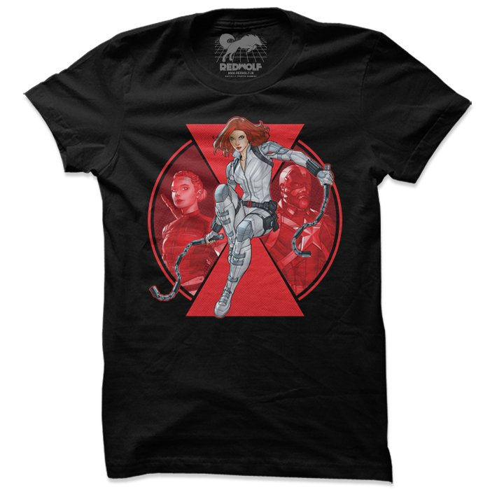 Black Widow In Action - Marvel Official T-shirt