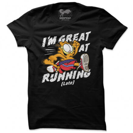 Great At Running Late - Garfield Official T-shirt