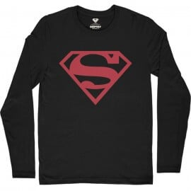 Black Superman Logo - Superman Official Full Sleeve T-shirt