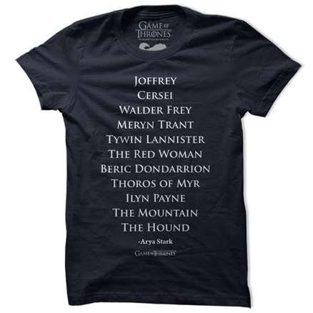 Arya's List - Game Of Thrones Official T-shirt