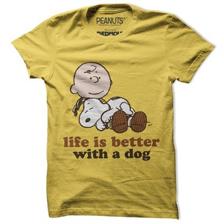 Life Is Better With A Dog  - Peanuts Official T-shirt