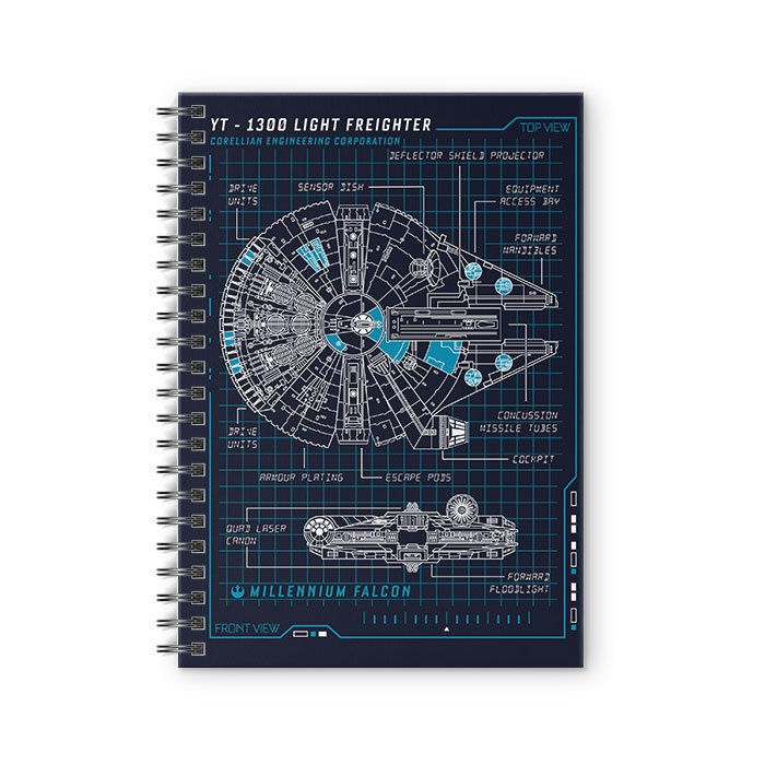 Millennium Falcon Blueprint - Star Wars Official Spiral Notebook