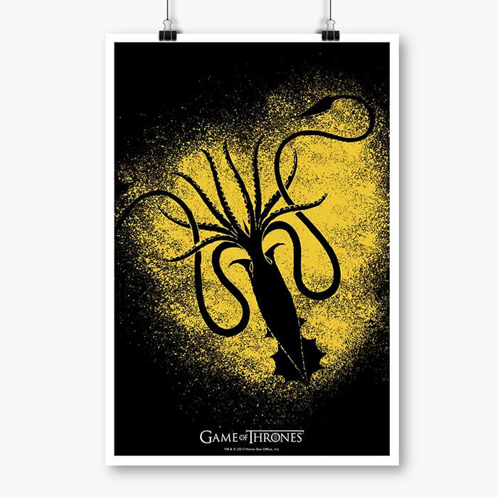 House Greyjoy Sigil Splatter - Game Of Thrones Official Poster