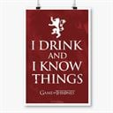 I Drink and I Know Things: Red - Game Of Thrones Official Poster