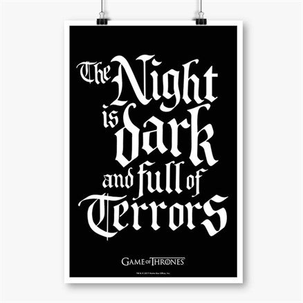 The Night Is Dark: Black - Game Of Thrones Official Poster