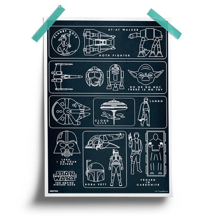 Empire Strikes Back Pictogram - Star Wars Official Poster