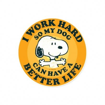 I Work Hard - Peanuts Official Sticker