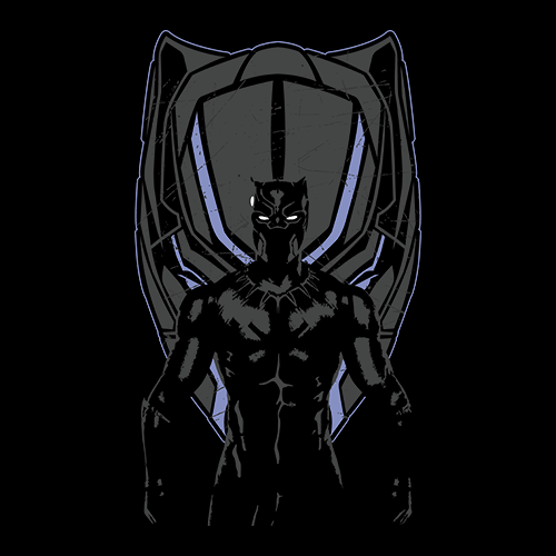 The Black Panther Tribal Panther Head Marvel Comics Spiral Wash T-Shirt S