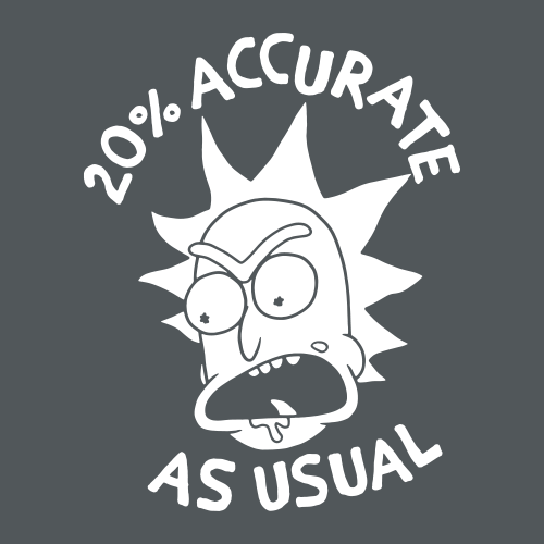20/% Accurate As Usual T Shirt Black NEW  L XL Mens Official RICK AND MORTY