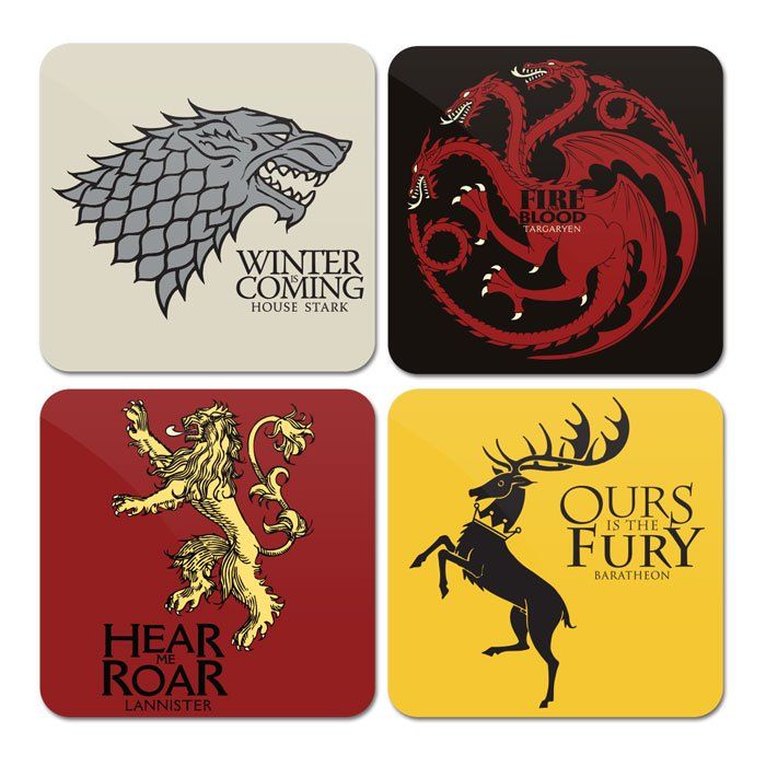 House Sigil Set | Game of Thrones Coaster | Redwolf