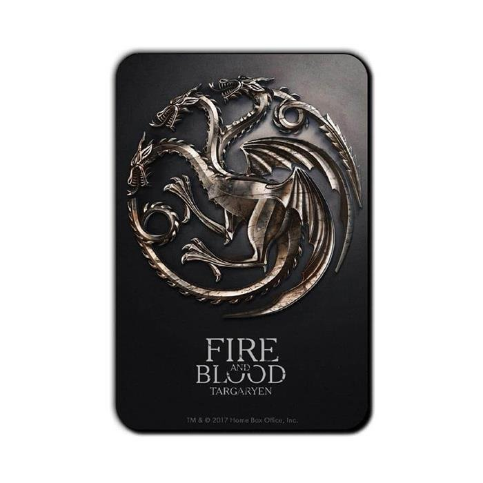 house targaryen metallic sigil | game of thrones fridge magnet