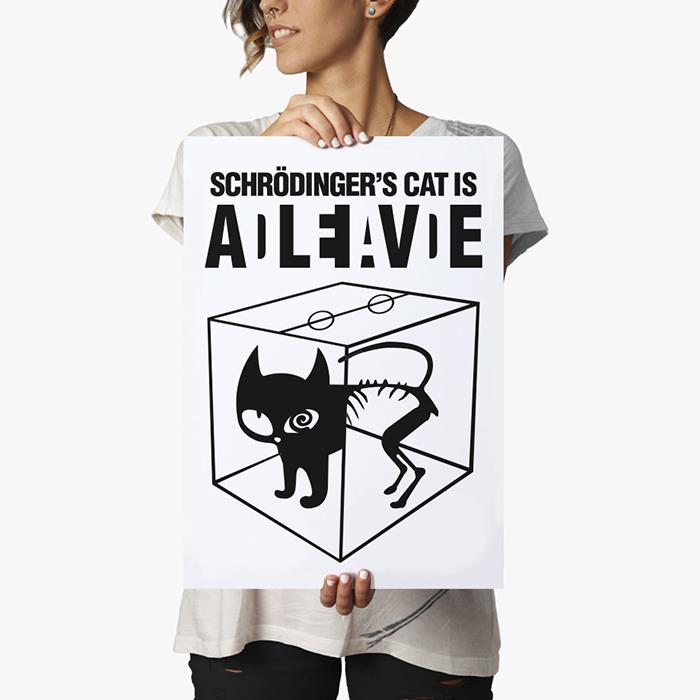schrodinger 39 s cat is alive dead poster geek posters big bang theory posters. Black Bedroom Furniture Sets. Home Design Ideas